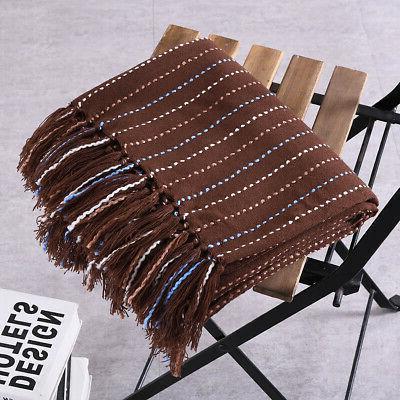Reversible Throw Blanket Woven Soft Sofa Decor