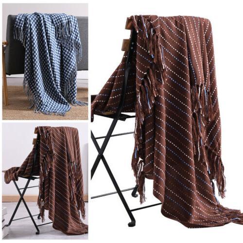 reversible tassel throw blanket woven soft warm