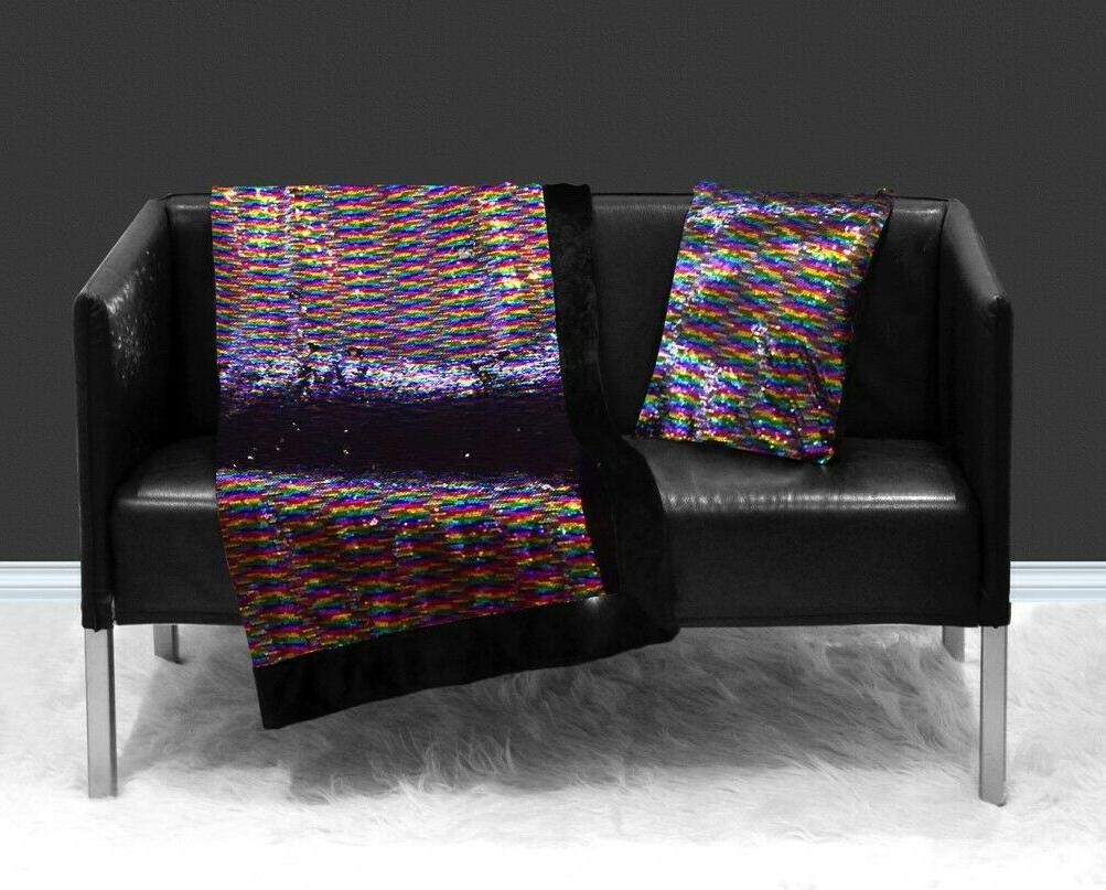 Reversible Throw Sequins Sparkle 50x60 Pink Rainbow 2DayShip