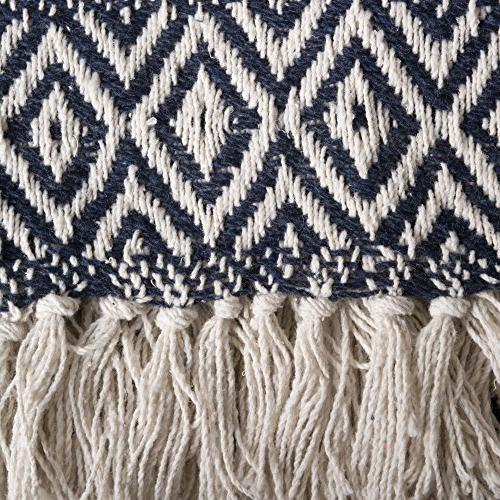 """DII Adobe Stripe Blanket Throw with Fringe For Couch, 50 60"""" Adobe Navy"""