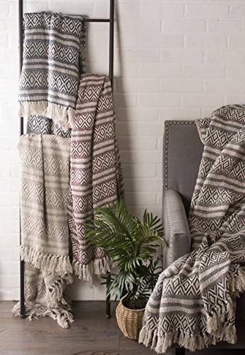 DII Rustic Farmhouse Cotton Adobe Stripe Blanket Throw with Fringe & 50 Adobe