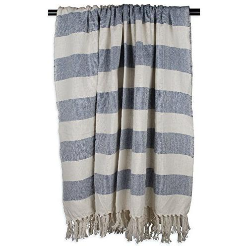 DII Cabana Striped Blanket Throw with Fringe For Couch, & Everyday 50 x - Cabana Striped Blue