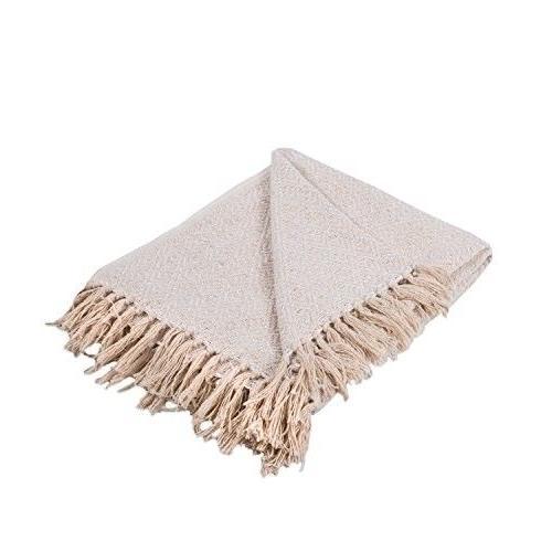 rustic farmhouse cotton diamond blanket throw