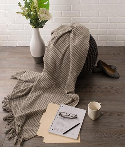 DII Farmhouse Cotton Houndstooth Blanket Fringe For Picnic, Camping, Everyday Use, 50 60 - Stone