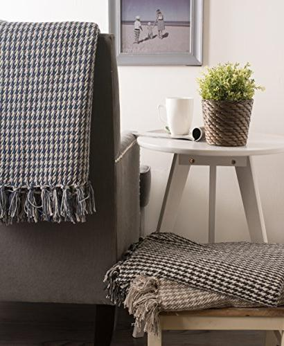 DII Farmhouse Houndstooth Blanket Throw with Fringe For Picnic, Beach, Use, 50 60 -