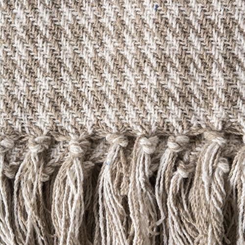 DII Rustic Farmhouse Cotton Houndstooth Fringe Chair, Picnic, Camping, Beach, Use, 50 - Stone