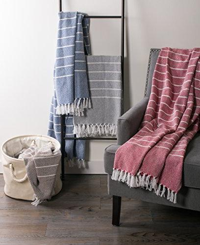 DII Rustic Cotton Thin Striped Throw Fringe Chair, Picnic, Beach, & Use , - Gray