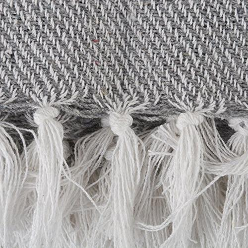 DII Thin White Throw with For Chair, Picnic, Beach, & , 50 x - Gray