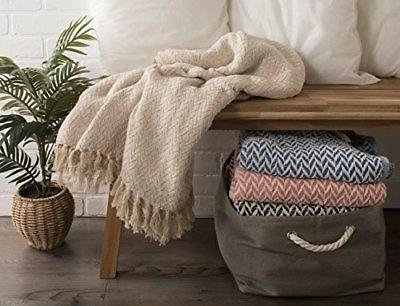 DII Rustic Farmhouse Cotton Zig-Zag Throw with Fringe For
