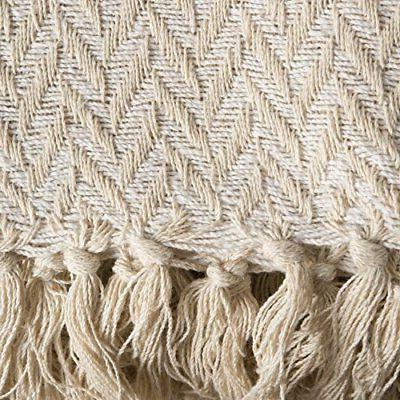 DII Rustic Farmhouse Zig-Zag Blanket Throw Fringe For Chair,