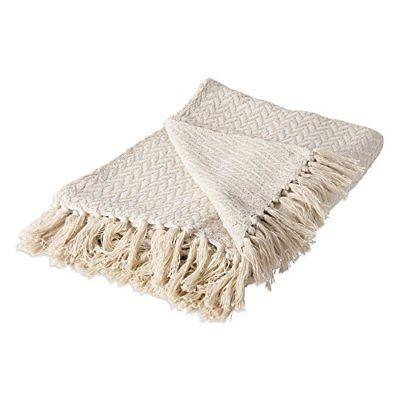 rustic farmhouse cotton zig zag blanket throw