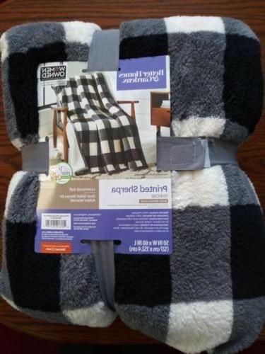 s buffalo plaid plush sherpa throw blanket