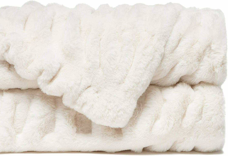 Chanasya Ruched Faux Fur Throw Plush Sofa Chair Bed