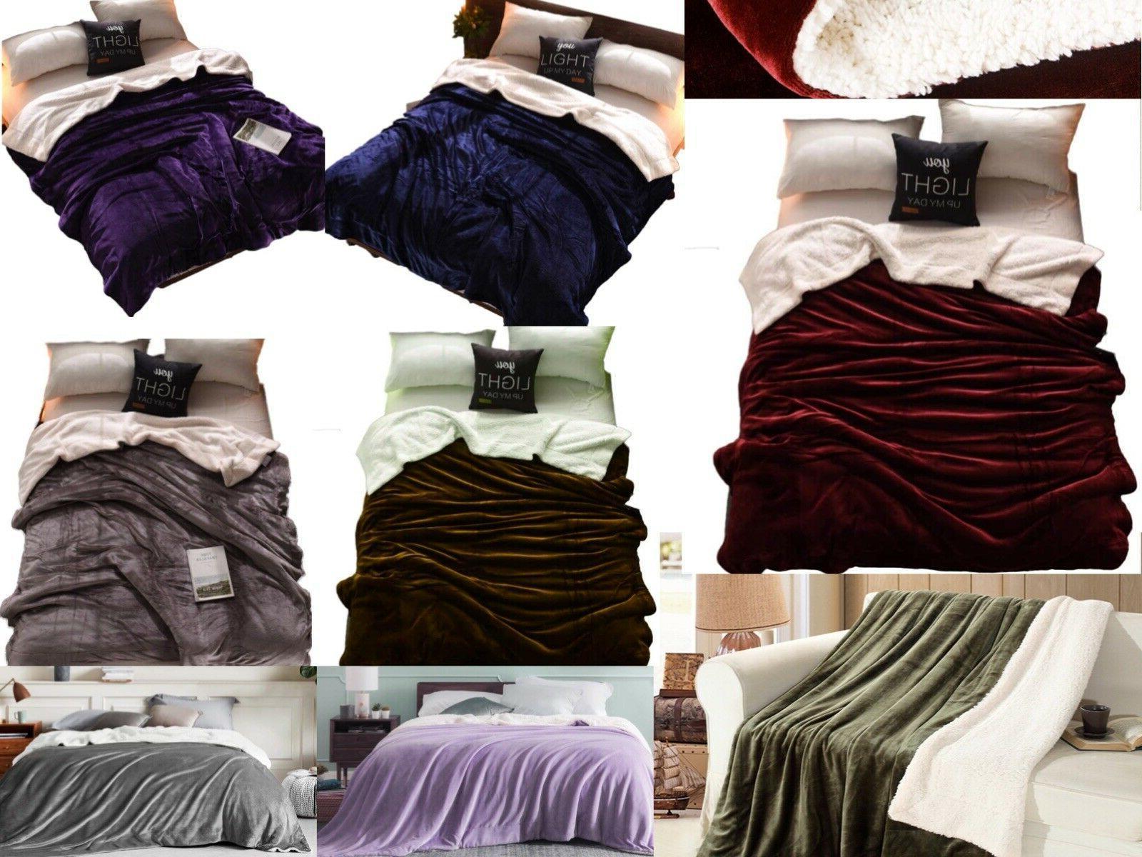 sherpa bed blanket queen size fleece soft
