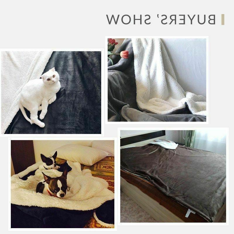 Sherpa Blanket Throw Bed Reversible Blanket for