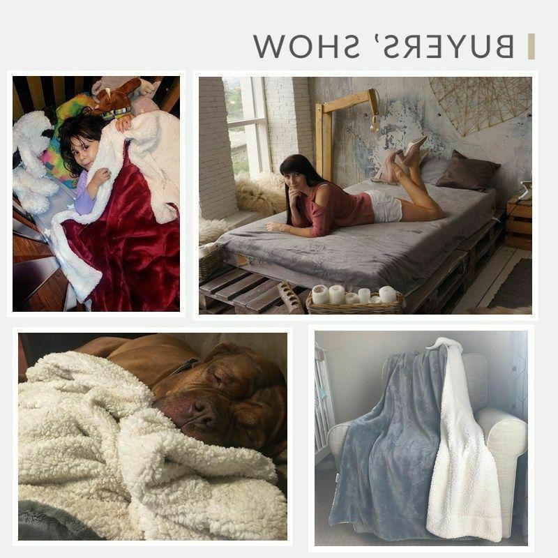 Sherpa Fuzzy Bed Fleece Blanket for