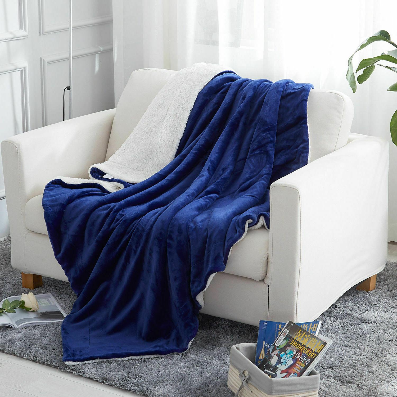 Sherpa Blanket Throw Bed Fleece Reversible Blanket for
