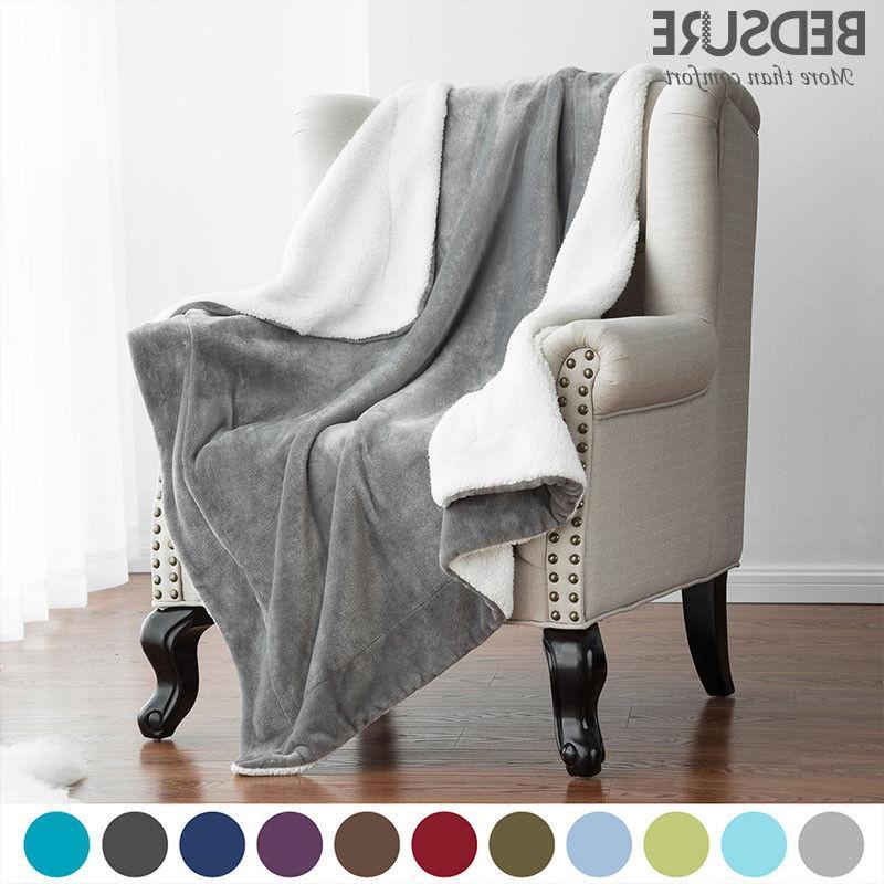 Bedsure Sherpa Throw Fuzzy Bed Fleece Reversible Blanket for