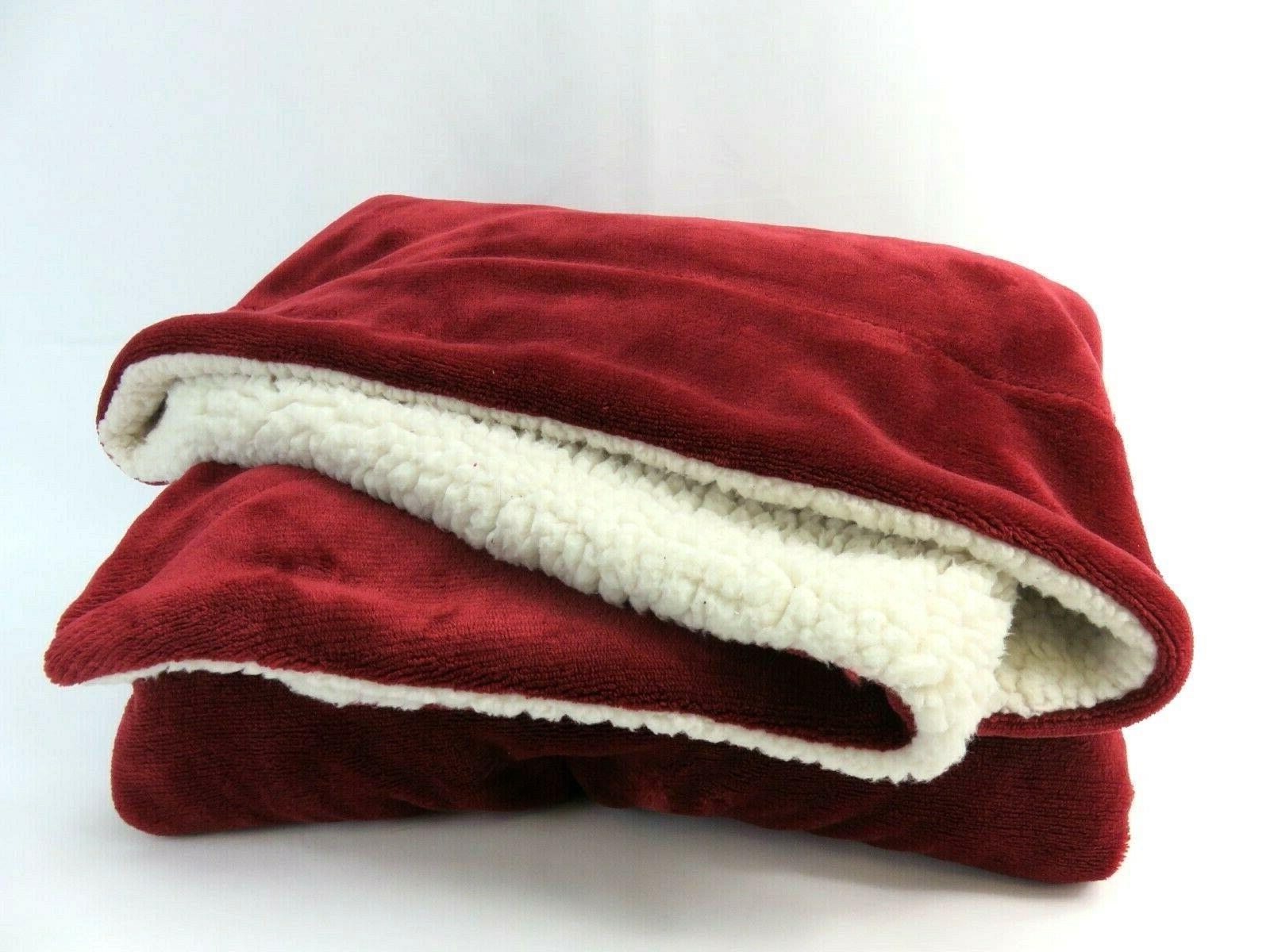 sherpa fleece blanket 65in x 50in red
