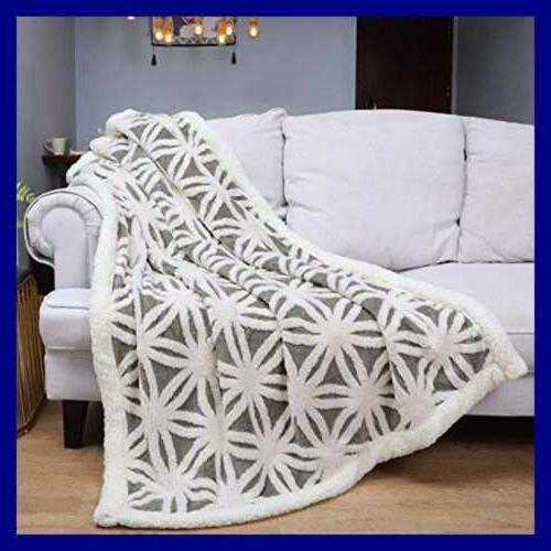 Sherpa Fleece Blanket Fuzzy Soft Bed Throw Fit GREY 51X63