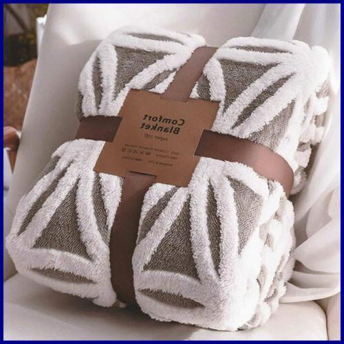 sherpa fleece blanket fuzzy soft bed dual