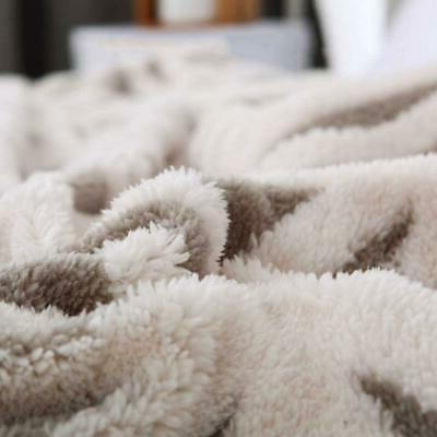 Sherpa Fleece Fuzzy Soft Bed Dual Sided Throw GREY