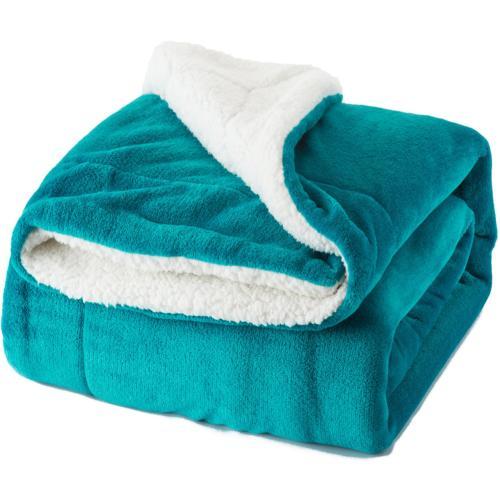Bedsure Sherpa Fleece Blanket King Size Teal Plush Throw Bla