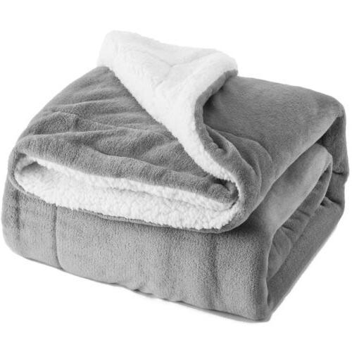 sherpa fleece blanket queen size grey plush
