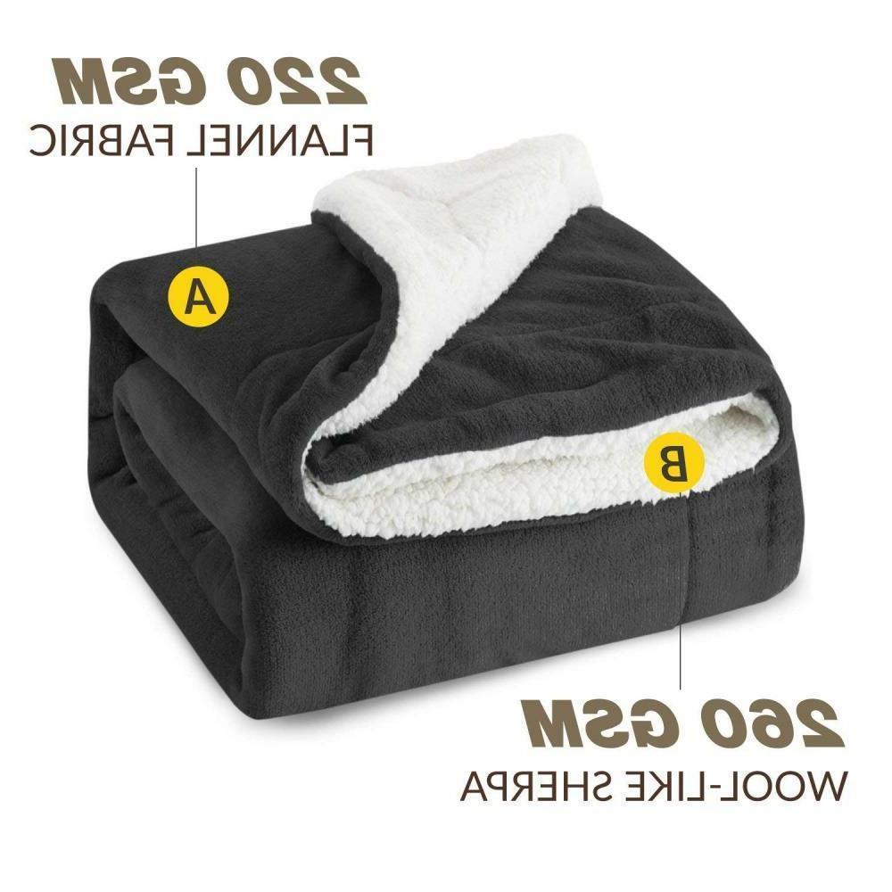 BEDSURE Blanket Throw Size Grey Plush Fuzzy