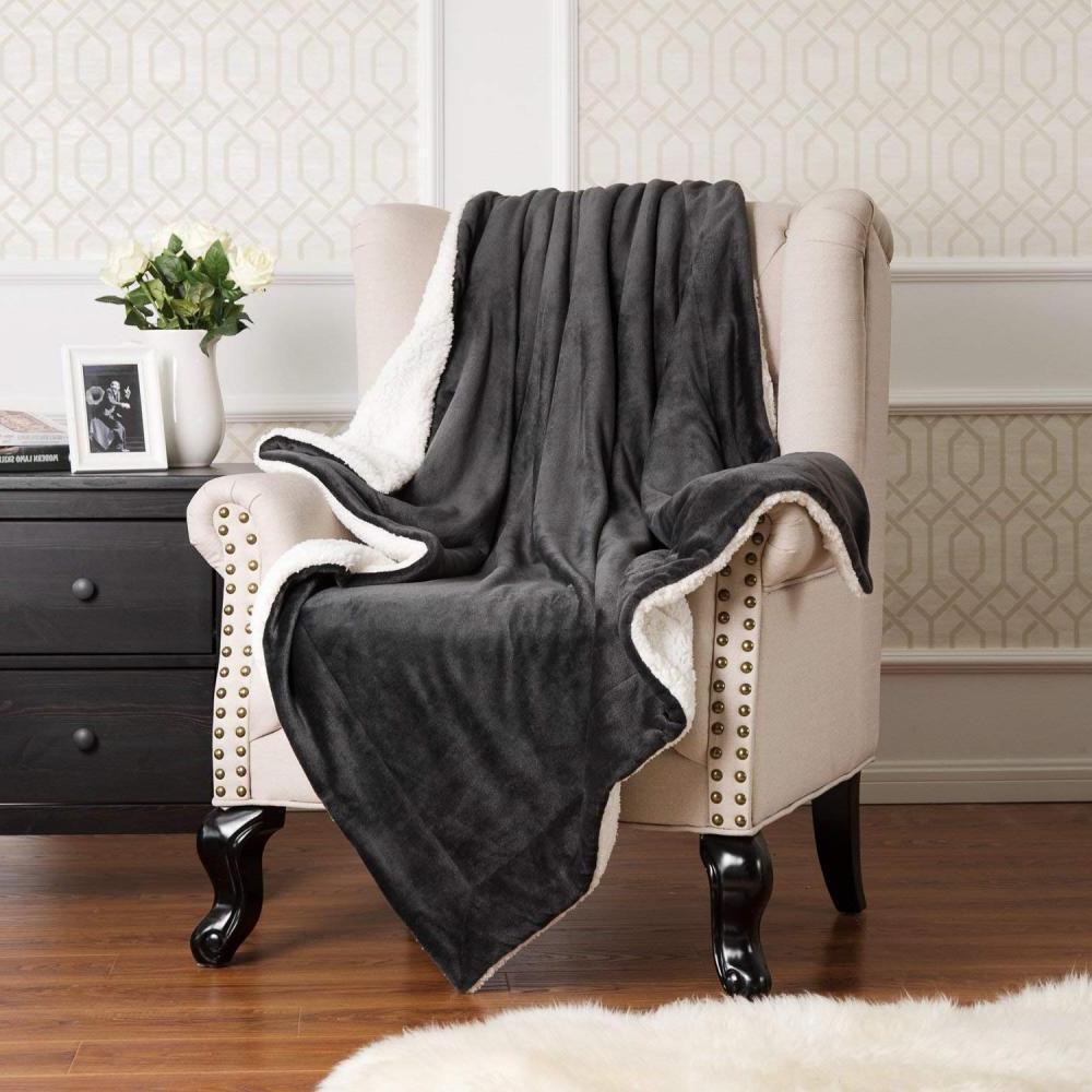 sherpa fleece blanket throw size dark grey