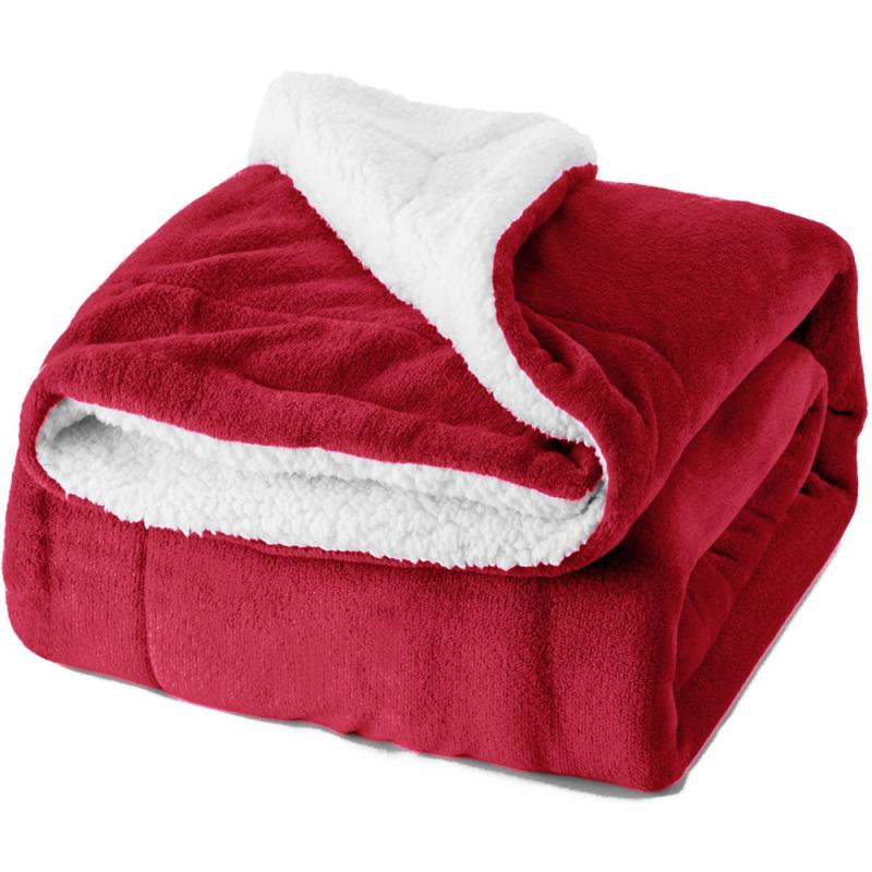 sherpa fleece blanket twin size red plush
