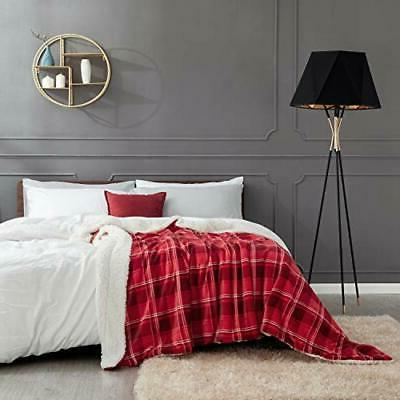 Bedsure Sherpa Plaid Blanket Sofa, Couch and Throw Plaid