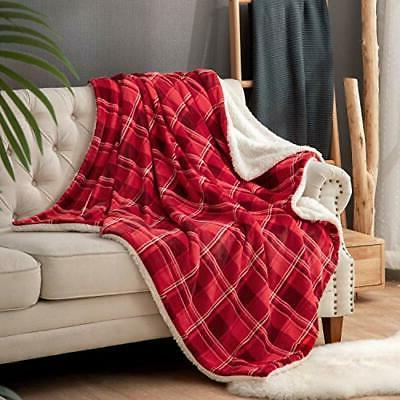 Bedsure Sherpa Blanket for Couch and Throw Plaid Red