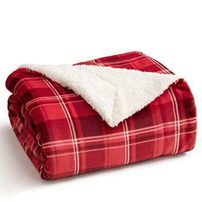 sherpa plaid throw blanket for sofa couch