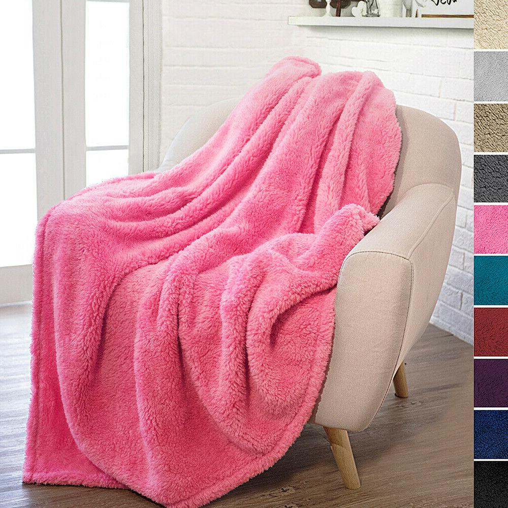 Sherpa Throw Fleece Warm Couch Faux Blanket