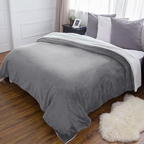 BEDSURE Fleece Blanket Queen Grey Throw Blanket Microfiber