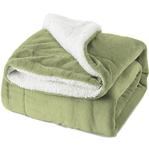 Bedsure Sherpa Blanket Sage Throw Size 50x60 Fleece Blanket