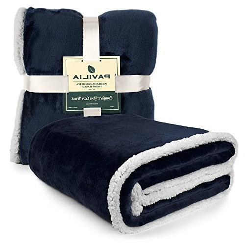 PAVILIA Sherpa Blanket   Soft, Plush Microfiber Throw for Chair   Reversible Warm Flannel