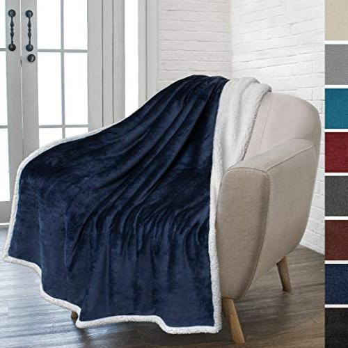 PAVILIA Premium Throw Blanket Couch   Super Cozy, Plush Microfiber Throw for Chair   Reversible Flannel Fleece Solid
