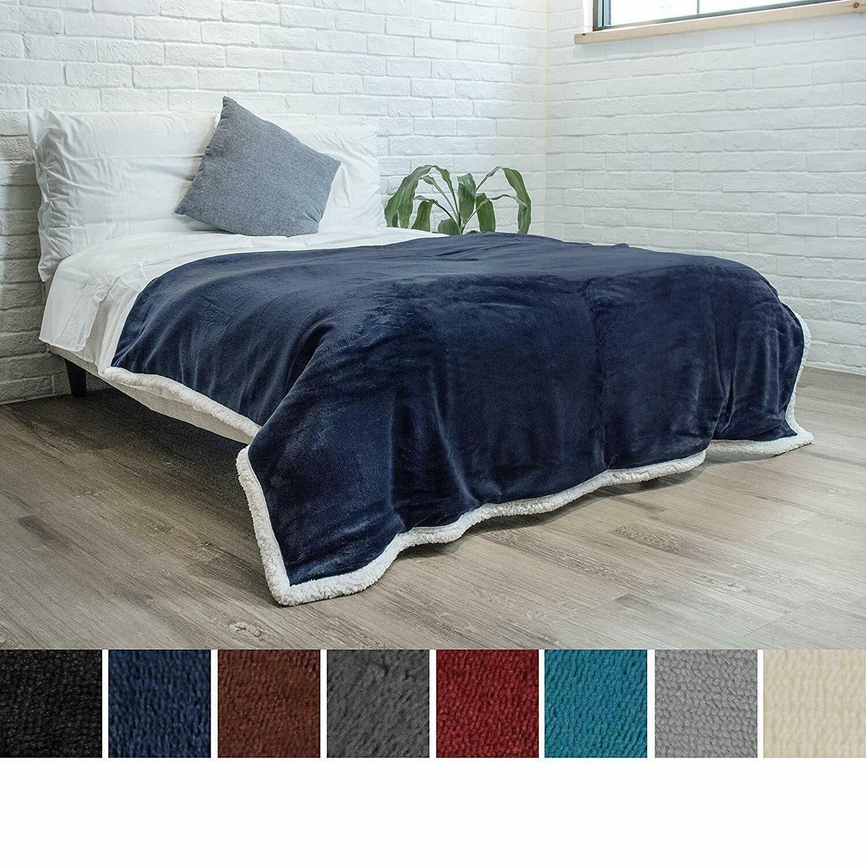 Sherpa Blanket Solid Fleece Bed Soft Fuzzy