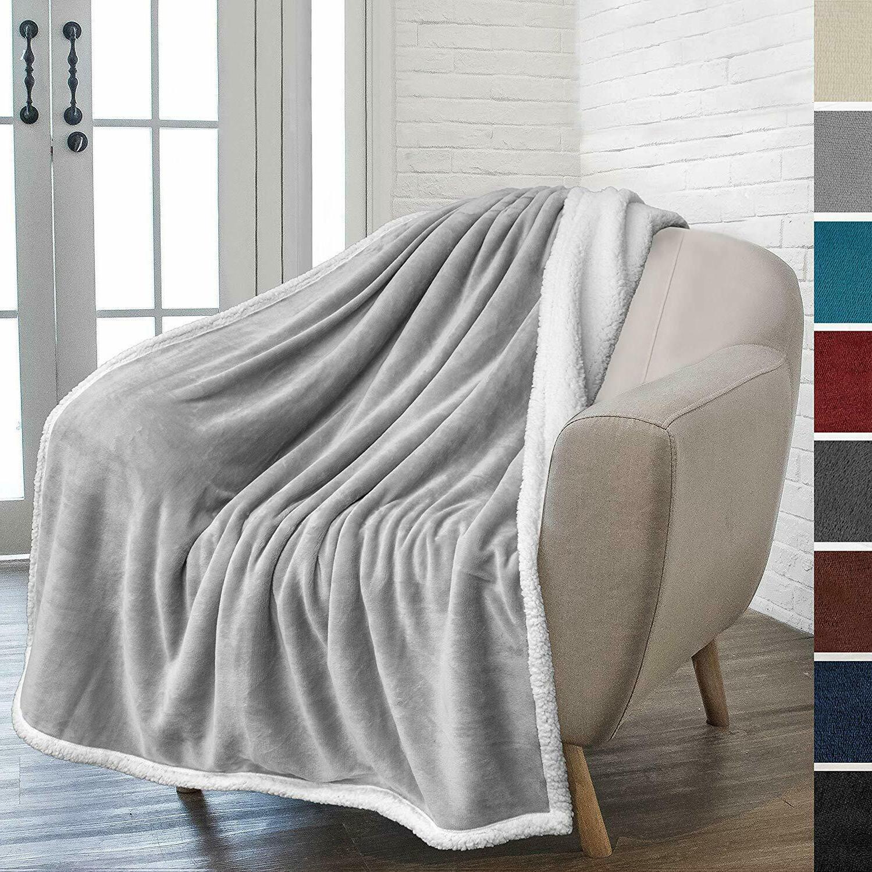 Sherpa Throw Solid Fleece Blanket Soft Warm