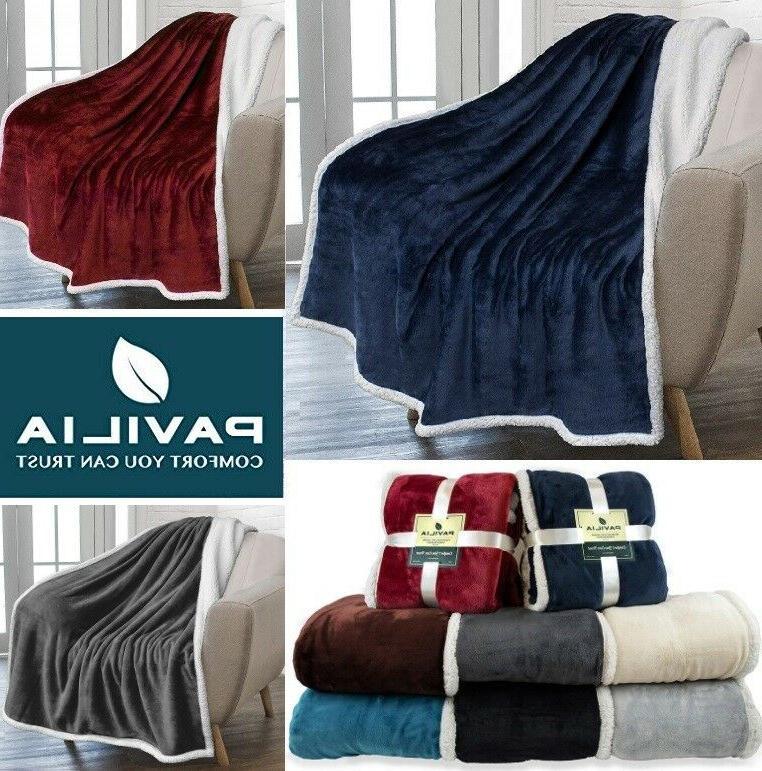 sherpa throw blanket solid fleece bed blanket