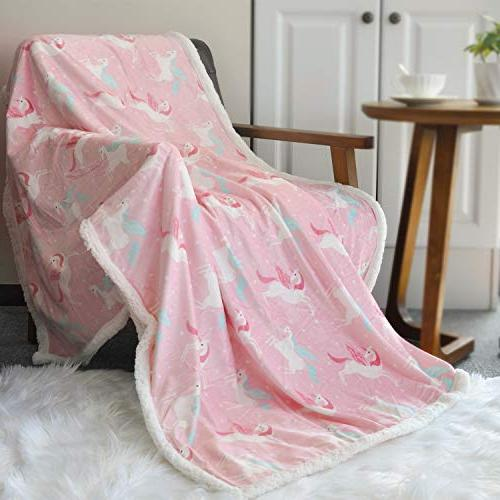 BORITAR Sherpa Blanket Super Warm | Ultra Blanket for Baby and Young Girls, Blanket with Sherpa Backing