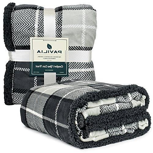 PAVILIA Premium Blanket   Micro Reversible Throw   All Season Plaid Design Fleece Blanket