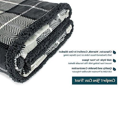 PAVILIA Blanket Couch Sofa   Soft Micro Reversible Lightweight All Season Plaid Fleece Blanket