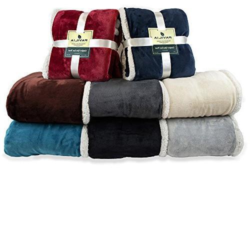 PAVILIA Premium Throw Blanket Couch   Plush Microfiber for Chair Flannel Fleece Blanket