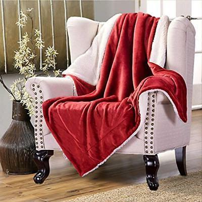 Sherpa Throws Fleece Blanket Twin Red Plush Fuzzy Soft Microfiber