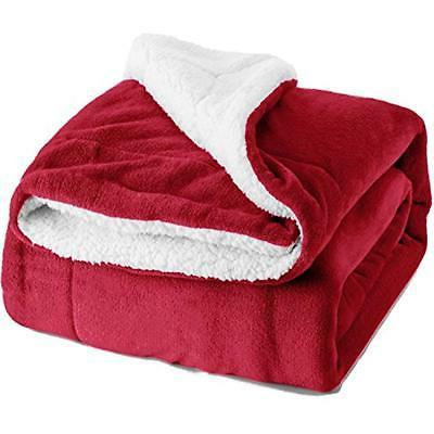 sherpa throws fleece blanket twin size red