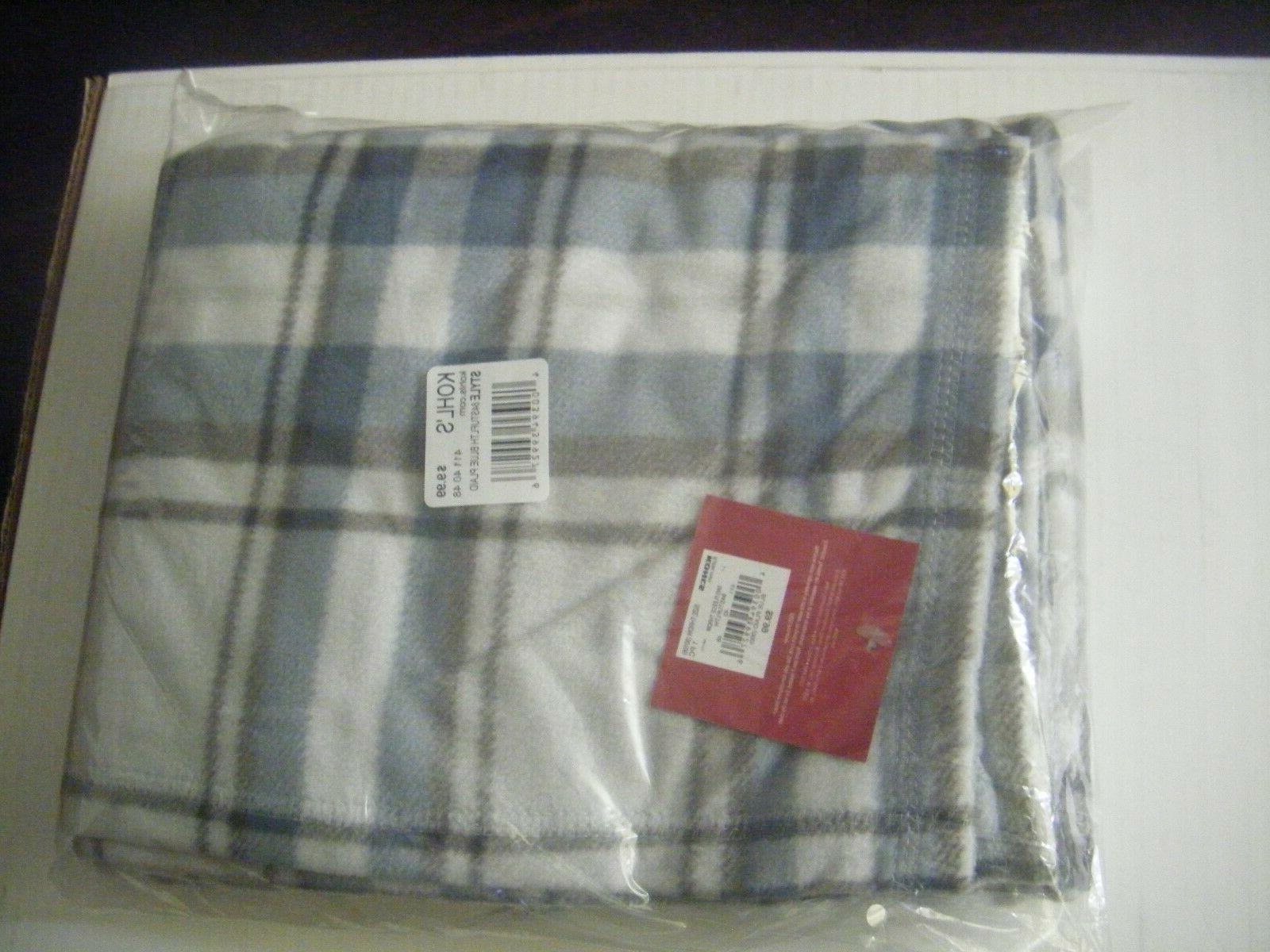 silver blue fleece throw blanket nice 60