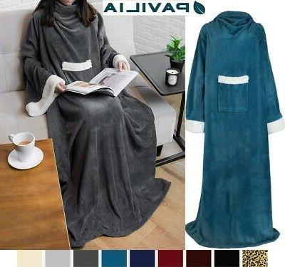 snuggie fleece wearable blanket with sleeves pocket